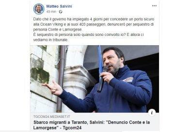 Ocean Viking, Salvini: Denuncio per sequestro di persona Conte e Lamorgese