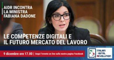 Competenze digitali e mercato del lavoro, il Ministro Dadone ospite   dell'evento online Aidr
