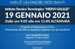 """""""Terra Mia"""" il docufilm contro le mafie il 19 Gennaio 2021 all'Istituto Tecnologico """"Nervi-Galilei"""" con una proiezione speciale via webinar"""